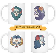 New Sugar Skull Mug - Mexican Sugar Skull Woman: White / Black Sugar Skull Coffee Cup 11oz Ceramic Skull Mugs - Get the Set & Save (NKT1MG) by NuKryptonTeesCo #nktees #etsy #funny
