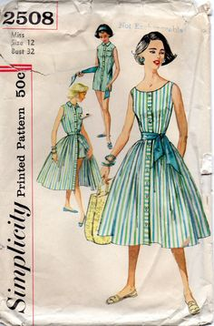 1950s Simplicity 2508  Misses Playsuit Romper Blouse Skirt and Sash womens vintage sewing pattern by mbchills