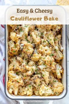 Cheesy Cauliflower Bake This Cauliflower Bake is a cheesy delicious vegetarian side dish recipe that's will impress your family and friends. Loaded with flavor, and a low carb alternative to the classic cheesy potato bake. Easy to ma Vegetarian Side Dishes, Healthy Side Dishes, Veggie Dishes, Side Dish Recipes, Vegetable Recipes, Food Dishes, Cheesy Potato Bake, Cheesy Cauliflower Bake, Cauliflower Casserole