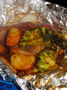 Foil packet BBQ Pork Chops with veggies. In the Oven now I'll let you guys k… Foil packet BBQ Pork Chops with veggies. In the Oven now I'll let you guys know how it turned out! Oven Recipes, Grilling Recipes, Pork Recipes, Dinner Recipes, Cooking Recipes, Recipies, Grill Meals, Dinner Ideas, Grilling Ideas
