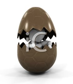 iCLIPART - Royalty Free Clipart Image of a Person Inside a Chocolate Easter Egg