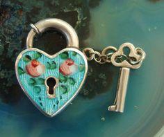 Vintage Signed Walter Lampl Sterling Silver Puffy Heart Blue Enamel Guilloche Lock Key Charm