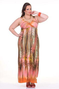 Moda feminina plus size   Vestido longo estampa abstrata