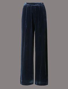 Wide Leg Velvet Trouser | M&S