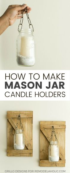 These rustic hanging mason jar candle holders are a charming way to brighten a dreary corner or fill an awkward space on a wall in your home. Learn how to make them here! (make candles in mason jars) Mason Jar Candle Holders, Hanging Mason Jars, Small Mason Jars, Mason Jar Candles, Mason Jar Crafts, Mason Jar Diy, Diy Hanging, Scented Candles, Hammock Diy