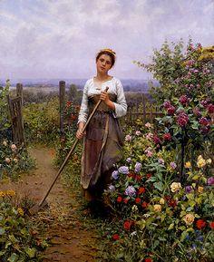 Gardening Daniel Ridgway Knight (American-born French genre painter, 1839-1924) la petite jardiniere