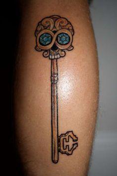 skull key tattoo