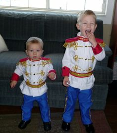 Prince Charmings! Costumes I made for the boys using the tutorial I found here http://www.makeit-loveit.com/2010/10/prince-charming-costume-tutorial-from.html. Alot of work, but I loved the results!