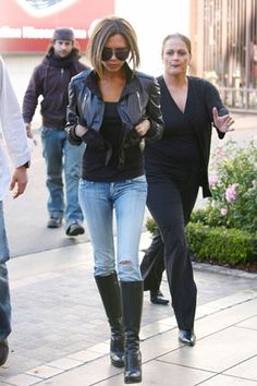 Victoria Beckham - Faded Skinny jeans + boots + crop leather jacket