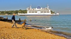 Ferry leaving Fishbourne, Isle of Wight, England