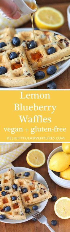 This recipe for Vegan Gluten Free Lemon Blueberry Waffles are bursting with delicious, tangy, sweet lemon flavour. They're perfect for breakfast or brunch! via @delighfuladv