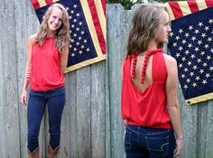 You will be Fourth of July ready in this little number! Pair it with jeans or cut off shorts for the perfect summer outfit! Made from 100% Viscose. Shop for this and many more items at Emma Laura in Dublin GA in Ivy Place shopping center. You can also purchase by phone at 478-272-2095 or shop our website atwww.emmalaura.com.