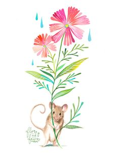 Field Mouse Art Print Watercolor Painting Nursery by FlorandFawn