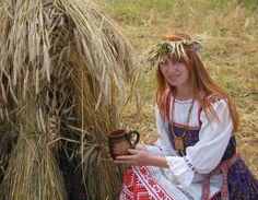Udmurt girl in traditional costume. The Udmurts are the most red-haired Finno-Ugric people, the most red-haired nation in Russia and together with the Irish, the most red-haired people of the world. in Udmurtian countryside, In some old little villages with inhabitants being only Udmurts, there are more than 70% of red-heads.> http://en.wikipedia.org/wiki/Udmurt_people > http://en.wikipedia.org/wiki/Udmurt_language > http://en.wikipedia.org/wiki/Udmurt_Republic