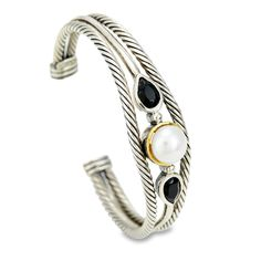 Pearl and Black Onyx Cuff Bangle Set in Sterling Silver & 18K Gold Acc | Cirque Jewels