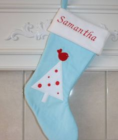 Personalized Christmas Stocking by EAndEEmb on Etsy, $30.00