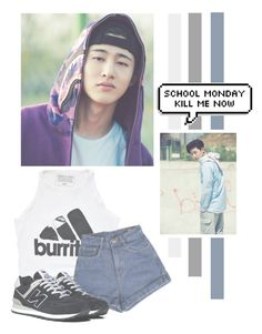 """""""Kim Hanbin"""" by lazy-alien ❤ liked on Polyvore featuring Urban Outfitters, New Balance, bi, ikon and KimHanbin"""