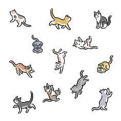 Mini Drawings, Animal Drawings, Dog Illustration, Character Illustration, Running Drawing, Cute Cats, Kittens Cutest, Cat Logo, Cat Wallpaper