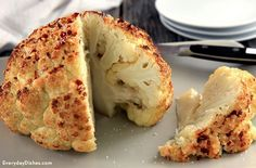 This whole roasted cauliflower is so easy to make. Just 10 minutes of prep and the oven does the rest of the work.