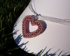 Cute pink heart for little princess (RAW ... Right-Angle Weave)
