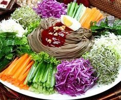 Korean Food | Jang Ban Guk Su | Spicy Buckwheat Noodles w/ Assortments of Vegetables