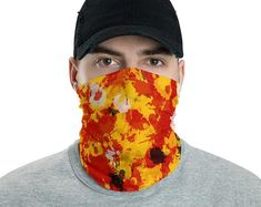 Red and Gold Paint Splatter Neck Gaiter Mask by BigTexFunkadelic Secondary Color, Primary Colors, Mouth Mask, Paint Splatter, Gold Paint, Neck Warmer, Fabric Weights, Black And White, Purple