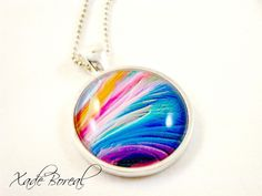 Waves of color glass pendant necklace