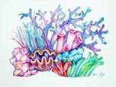 sea art Coral Watercolor O - sea Coral Painting, Coral Watercolor, Coral Reef Drawing, Sea Life Art, Sea Art, Painting & Drawing, Watercolor Paintings, Diy Painting, Sea Plants