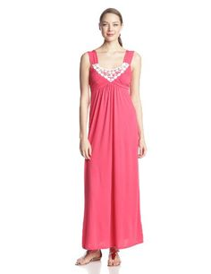 Maxi dress with crochet and embellishment at front neck