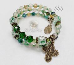 Items Similar To Catholic Rosary Wrap Bracelet Mix Green Agate Religious Gift For Mothers Confirmation Ourladybeads