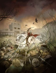 "Games Workshop Ltd, t/a Warhammer Historical Cover art to ""Age of Arthur"" Romano Britons scrapping some Saxons near a fort. Age Of Arthur Legend Of King, Roman Britain, Roman Era, Military Art, Military History, Dark Ages, Historical Pictures, Medieval Fantasy, Illustrations"