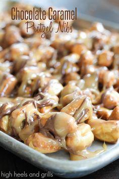 chocolate caramel pretzels, easy snack, pretzel nib, grill, snack recipes, high heel, easi snack, chocol caramel, pretzel snacks
