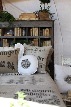 Kymberley's designs the most beautiful unique home decor items using antique German Grain Sacks. for-the-home-bedroom Decor, Beautiful Bedrooms, Bookcase Headboard, Bookshelf Headboard, Home Bedroom, Dreamy Whites, Rustic Decor, Home Decor, Home Decor Items
