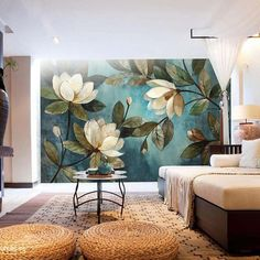 BVM Home brings together a thrilling selection of wallpapers, wall murals, wall art and home décor accessories: inspirin Mural Painting, Mural Art, Wall Murals, Wall Art, Wallpaper Murals, Flower Mural, Flower Wall, Flowers Wallpaper, Exotic Art