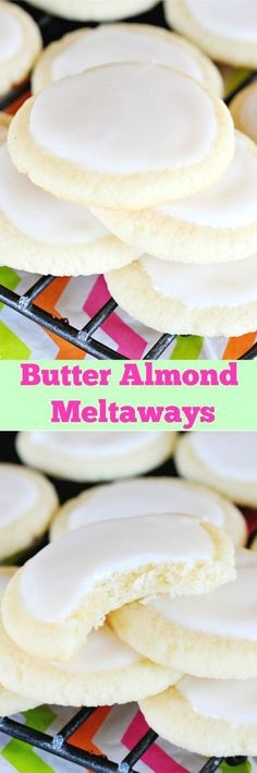 Glazed Butter Almond Meltaway Cookies are so light and buttery with a sweet almond flavor, and they seriously melt in your mouth.