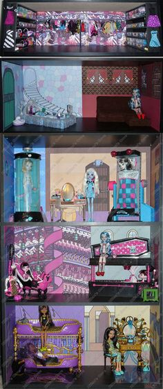 Monster High Dead Tired Bedroom Bookcase Kit w Abbey 039 s Room Doll House Bed | eBay