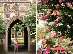 Princeton University engagement pictures under an archway, photographed by Princeton wedding photographer Kyo Morishima