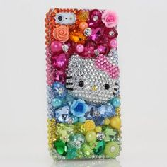 Amazon.com: Bling iphone 5 Case Cover protective faceplate skin 3D Swarovski Elements Crystals Diamond Sparkle Pink Blue Green Multi Color Hello Kitty Design: Cell Phones & Accessories