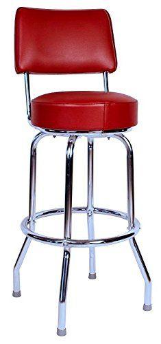 "Richardson Seating Swivel bar Stool with Back Chrome Frame and Wine Seat, 24"""