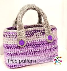 """Every once in awhile the planets align and a project turns out even better than imagined. I amLOVING the new Red Heart Soft Essentials yarn and had some purple skeins to use. I LOVE bags and have been wanting """"the perfect project tote"""". One that I can just grab and take in the car. Big enough for a"""