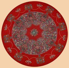 Antique Persian Textile. Rashti-Duzi Silk Embroidery on Felt Table Cover.  Qajar Dynasty  1795 -1925 A.D Circa1880