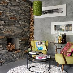 Modern living room with slate fireplace