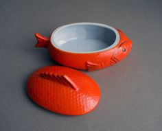 Vintage Ceramic Covered Fish Dish and Plates by whatnotsandsuch