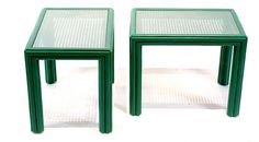 Pair of Green Cane and Glass Top Accent Tables by kyorkstudioshop