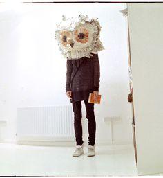 paper papier mache owl head!