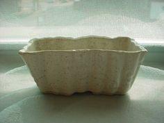 Vintage Ungemach Pottery UPCO Rectangular White Planter Vase Speckled Bamboo USA