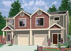 Plan 38019LB: Duplex with 3 Beds in Each Unit