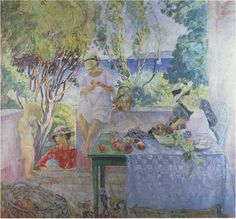 'On the terrace', Oil On Canvas by Henri Lebasque (1865-1937, France)