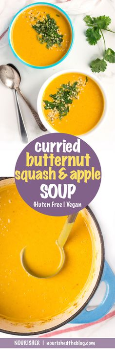 Curried Butternut Squash and Apple Soup | recipe | easy to make | gluten free, vegan, vegetarian, dairy free | creamy, sweet and full of flavour | nourishedtheblog.com