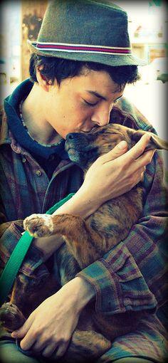 cute boy with puppy